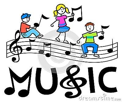 Karikatur scherzt musikalischen Stab