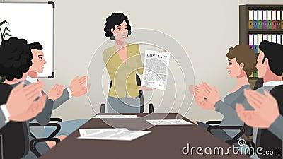 Karikatur Unternehmens/Mädchen-Show-Geschäfts-Vertrag