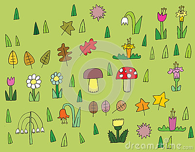 Karikatur-Vegetations-Sammlung in den Farben