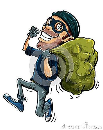 Karikaturdieb, der mit einer Tasche der gestohlenen Waren läuft