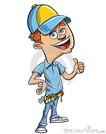 Karikaturheimwerkergeben Daumen oben