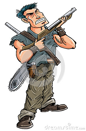 Karikaturheld mit der Schrotflinte bereit, Zombies zu kämpfen