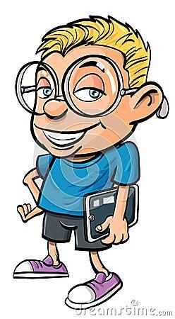 Karikatursonderling, der einen Tablettecomputer anhält