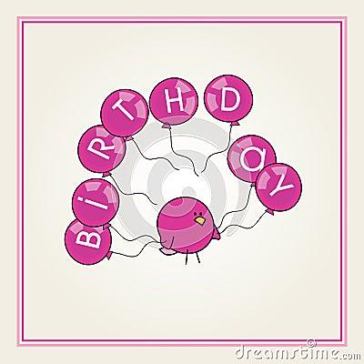 Karikaturvogel mit rosafarbene Ballone