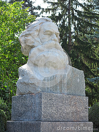Karl Marx bust stone statue in Europe