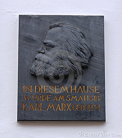 Karl Marx house plaque Editorial Stock Image