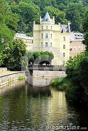 Karlovy美丽的卡尔斯巴德的房子变化
