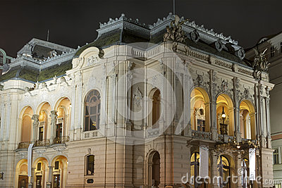 Karlovy Vary City Opera Theatre at night, Czech