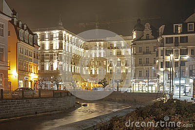 Karlovy Vary Grandhotel Pupp at night Editorial Stock Photo