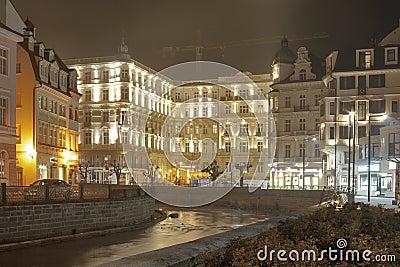 Karlovy Vary Grandhotel Pupp at night Editorial Stock Photo