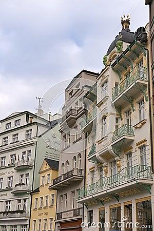 Karlovy Vary small hotels Editorial Stock Photo