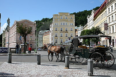 Karlovy Vary street view Editorial Stock Image