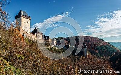 Karlstejn castle in autumn colors