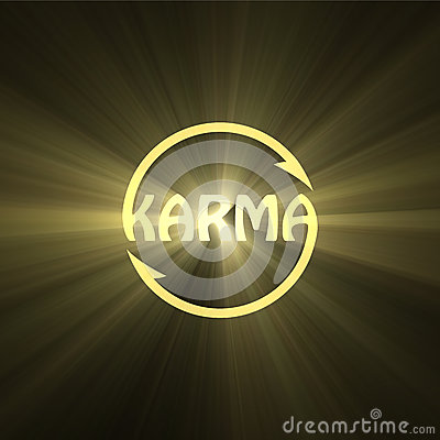 karma letter buddhism sign light flare stock illustration