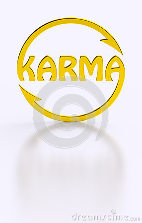 karma word cycling golden symbol stock illustration