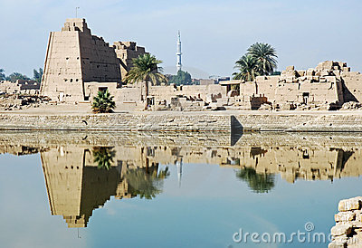 Karnak Temple ruins from the sacred lake, Luxor