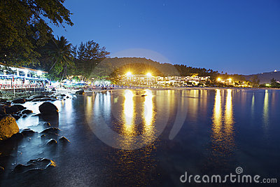 Karon beach at night time
