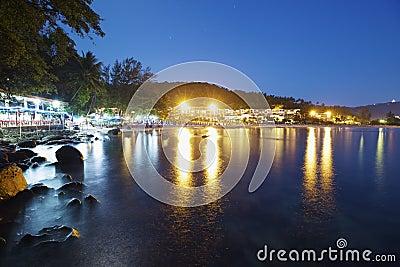Karon beach at night time