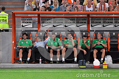 Karpaty soccer team players and their coach Editorial Stock Image
