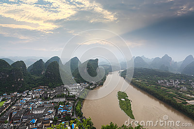 Karst landform and lijiang river at sunrise