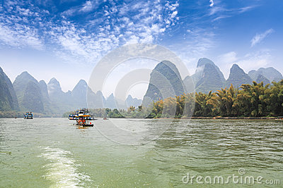 Karst mountain landscape in lijiang river