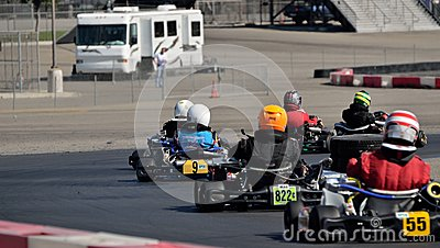 Kart Racing Group Editorial Stock Image