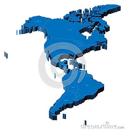 Karte 3d von Amerika