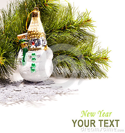 Karte des neuen Jahres mit schönem Schneemann