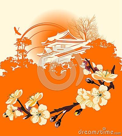 https://thumbs.dreamstime.com/x/karte-mit-einer-blume-kirschblte-und-japanische-huser-mit-vogel-30174932.jpg - Japanische Huser