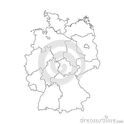 karte von deutschland teilte sich zu den bundesländern vektor