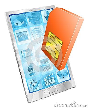 Karten-Ikonenkonzept des Telefons SIM