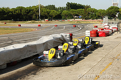 Karts near a racing circuit