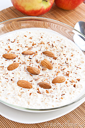 Kasha with milk and nuts
