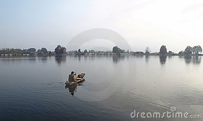 Kashmir boat man selling on Dal Lake Editorial Photography