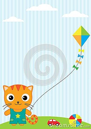 Kat en vlieger