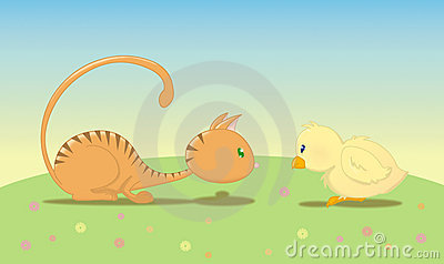 Kat met vogel