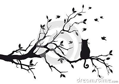 Kat op een boomtak