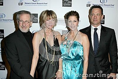 Kate Capshaw, Rita Wilson, Steven Spielberg, Tom Hanks Editorial Stock Image