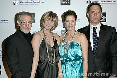 Kate Capshaw, Rita Wilson, Steven Spielberg, Tom Hanks Foto de archivo editorial