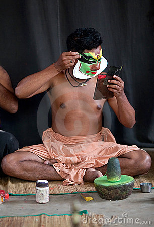 Kathakali actor make-up Editorial Stock Photo