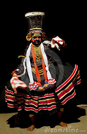 Kathakali performer in the negative role Editorial Photography