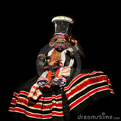 Kathakali performer in the negative role Editorial Stock Image