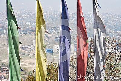Kathmandu over prayer flags.