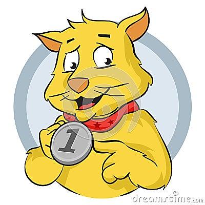 Katt med medaljen