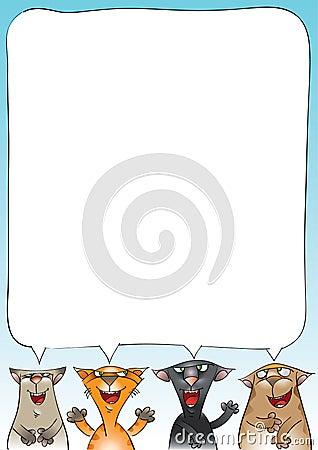 Katter fyra som sjunger