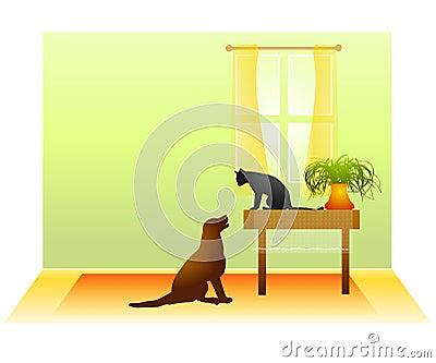 Katze-Hundeanstarrenunentschieden