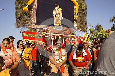 Kavadi bearer on Thaipusam festival Editorial Stock Photo