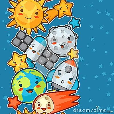 kawaii空间无缝的样式 与相当表情的乱画 动画片太阳,地球,月亮,火箭图片