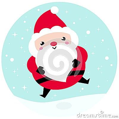 Kawaii Christmas Santa on snowing background