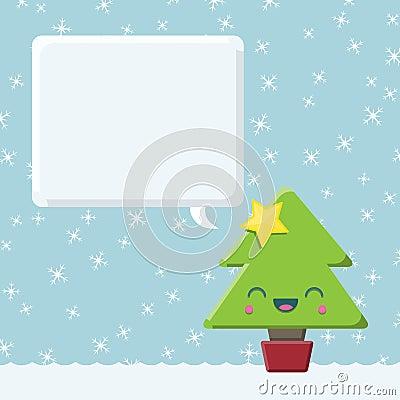 Kawaii Christmas Tree With Speech Bubble Stock Photo